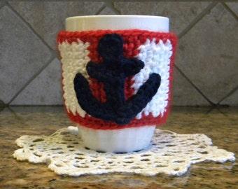Handmade crochet nautical tie back coffee tea mug/cup cozy