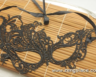Masquerade Masks, Gothic Mask, Lace Mask, Fifty Shades Darker Mask, Black Venice Lace Mask, Party Mask, Guipure Lace Mask, LM-15-BL