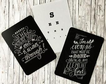 Motivation cards SET Handlettering chalk board lettering typography