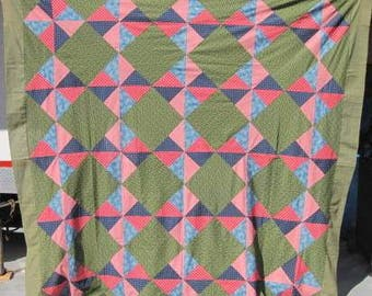 Antique Queen Size Quilt Top, 'Pinwheel' Vintage Hand Pieced and Machine Pieced Top, 1880's Green and Calico Patchwork  Quilt Top #17048