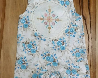 Little girls cotton upcycled Boho playsuit with hand embroidery motif. Size 18mths -2yrs
