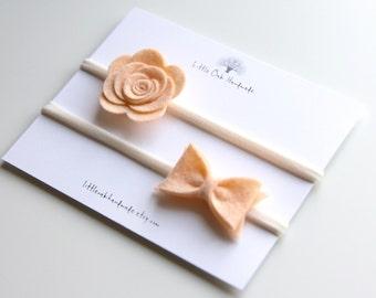 Set of 2 Wool Felt Rose and Bow - Apricot - Baby Headband - Nylon Headband