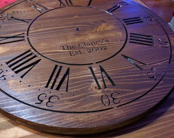Clock Face 17.5 in x 1 in pine custom text to order