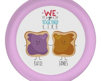 """PERSONALIZED PLATE for TWINS - Custom 10"""" Melamine - Peanut Butter 'n Jelly - Names - Best Friends Kids - birthday gift - pb&j mealtime fun"""