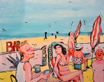 Le bar - Acrylic on canvas, painting couple / Le doigt, mougins