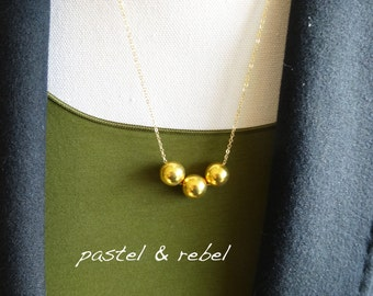 gold filled necklace with vermeil balls