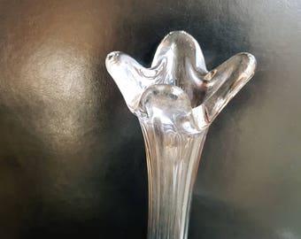 Lovely glass fluted bud vase