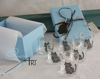 6 Shot glasses feline moon design