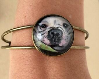 Custom hand painted pet portrait cuff bracelet
