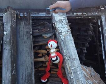 Puppet ostrich toy. Camel-bird foam plastic vintage toy. Bird toy. Puppet-show