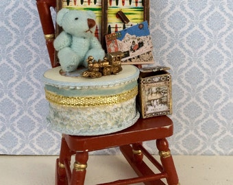 1:12 miniature rocking chair with toys for Doll House