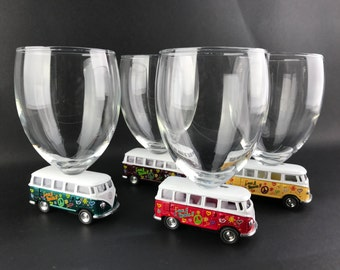 VW Volkswagen Combi 4 glasses!