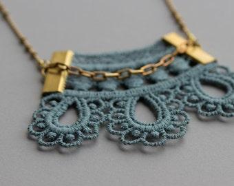 Dusty Blue Lace Necklace / Unique, Delicate, Art Nouveau Jewelry / Long Brass Bead Chain