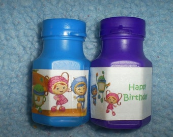 Team Umizoomi personalized pack of 12 Birthday party favor bubbles