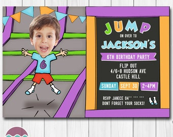 Trampoline Birthday Party Invitations for a Jump celebration