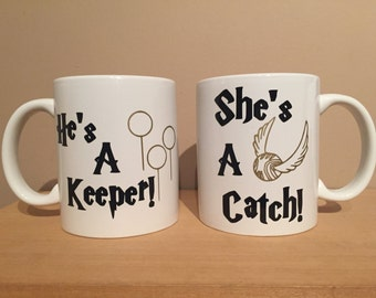 He's a keeper she's a catch, Harry Potter mugs, Harry Potter, Harry Potter gift, his and hers mugs, couples mugs, Valentine's Day gift
