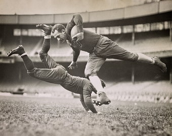 Football Photo, Chicago Bears Grange and Zeller Tackle Photo, 1935, Chicago Illinois, Football Photography, Man Cave Decor, Sports Photos