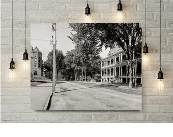Montpelier Vermont Photo - State Street, Pavilion Hotel, Historical Print, Wall Art, Home Decor, Black and White, Old Montpelier VT, 1904