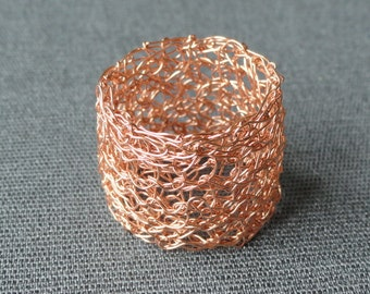 Rosé gold filled ring knitted gold-plated ring