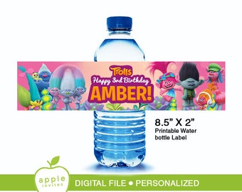 Trolls water bottle label, Trolls water bottle, Trolls label, Trolls Printable