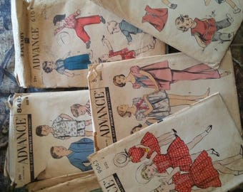 Lot of 11 Advance Vintage Sewing Patterns