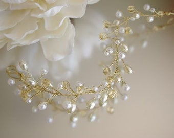 Ivory Pearl and Gold Hair Vine/Accessory Various Lengths  Wedding Prom Party