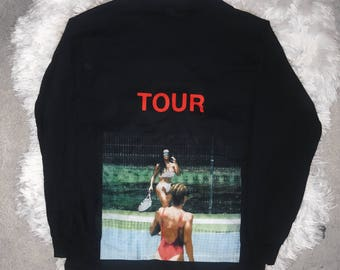 Kim Kardashian Playing Tennis Kanye West Yeezy Saint Pablo Tour Black Long Sleeve Merch