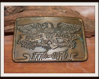 Vintage Metal 1776-1976 Bicentennial Spirit of America Belt Buckle, Bald Eagle Belt Buckle, Patriotic Belt Buckle, Americana Belt Buckle