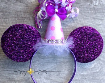 Birthday Party Hat, Mickey Ears, Minnie Ears, Mickey Mouse Ears, Purple Minnie Ears, Mickey Headband Ears, Minnie Mouse Ears Hat