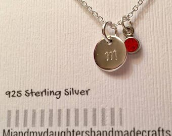 Personalized petite circle tag sterling silver Necklace, Birth stone, 925 sterling silver