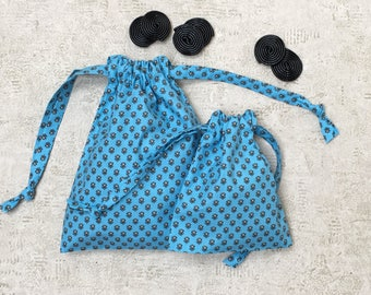 Blue Sky smallbags in Provencal fabric - 2 sizes - cotton bags - zero waste
