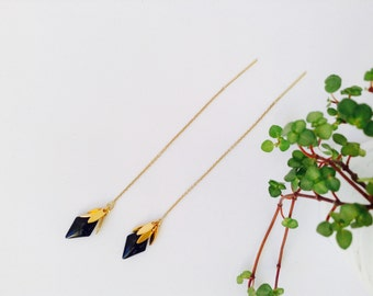Gold and black threader earrings in 14K Gold Filled, Gold chain earrings, threader earrings