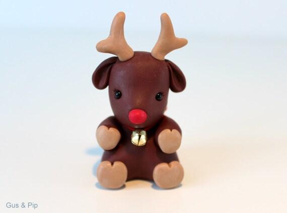 Cute little Christmas Reindeer Ornament/ Sculpture/ Cake Topper