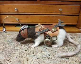 Steampunk Companion, Steampunk Rat, Needle Felted Rat, Needle felt creature