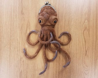 Steampunk OctoPurse, Octopus Purse, Needle Felted Purse, Steampunk Accessories,