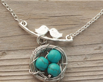 Kissing Birds Necklace, Turquoise Eggs Charm, Bird Nest Charm Necklace, Gift Idea