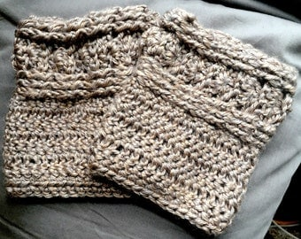 Crocheted Waves and Shells Boot Cuffs