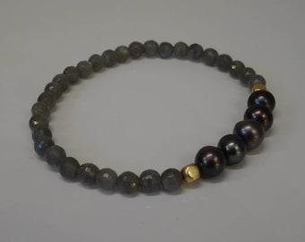 Bracelet Pearl, Labradorite