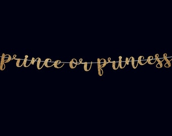 Prince or princess gender reveal banner party banner baby shower decorations boy or girl baby shower banner gender reveal ideas