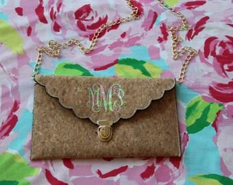 Lilly Inspired Monogram Cork Clutch