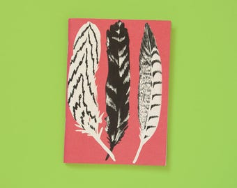A6 note book blank pink feathers