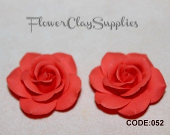 Coral Rose 2pcs Rose cabochon Polymer clay flowers Flower bead Rose bead Jewelry making