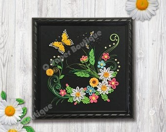 """3D Daisy Blossom with Butterfly Handcrafted Paper Quilling-Home Decor with 9"""" x 9"""" Black Rope Shadow Box with Glass"""