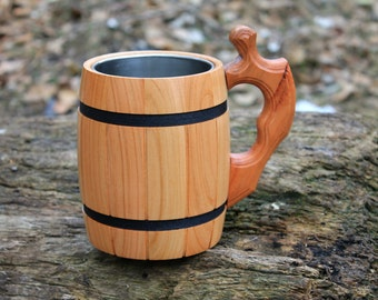 Beer mug, Wooden beer mug, Groomsman gift, Personalized beer mug, Wedding gift, Engraving mug, Beer mug wood