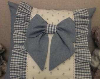 Handmade blue and white pillow