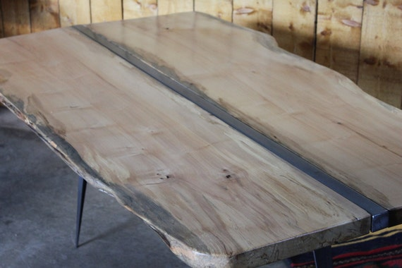 Maple live edge table with polished steel insert and tapered steel legs