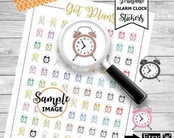Alarm Clock Stickers, Alarm Clock Digital Stickers, Printable Clock Face Stickers, Planner Stickers