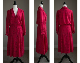 MED - 70s Red and Black Patterned Midi Dress