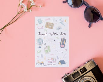 Postal 'Travel. Explore. Live'