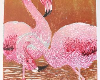 Flamingo Woodblock Print